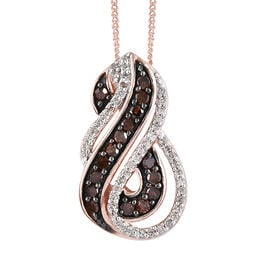 Only 35 Made - Red Diamond (Rnd), White Diamond Infinity Pendant With Chain (Size 18)  in Rose Gold and Black Plating Sterling Silver 0.500 Ct.