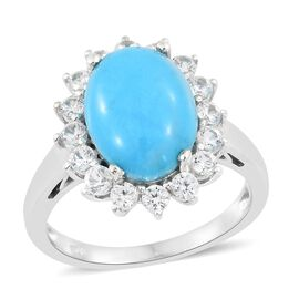 AA Arizona Sleeping Beauty Turquoise (Ovl 4.25 Ct), Natural Cambodian Zircon Ring in Platinum Overlay Sterling Silver 5.750 Ct.