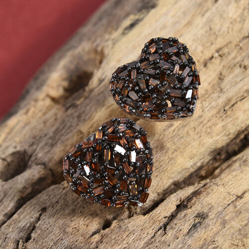 GP Red Diamond (Bgt), Kanchanaburi Blue Sapphire Heart Stud Earrings (with Push Back) in Black Rhodium and Platinum Overlay Sterling Silver 0.500 Ct.
