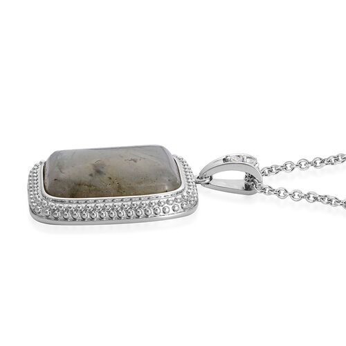 Labradorite (Cush 13.00 Ct), Simulated White Diamond Pendant in ION Plated Silver Bond With Stainless Steel Chain 13.500 Ct.