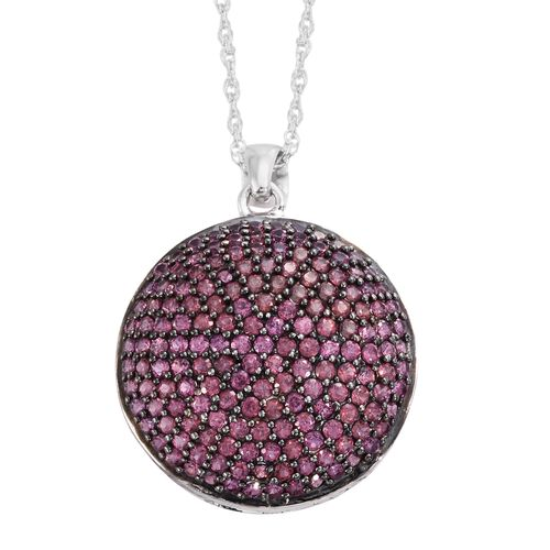 Red Carpet Collection-Rhodolite Garnet (Rnd) Cluster Pendant with Chain in Black Rhodium and Platinum Overlay Sterling Silver 3.500 Ct.Gemstone Studded 166 Pcs. Silver wt. 6.54 Gms.