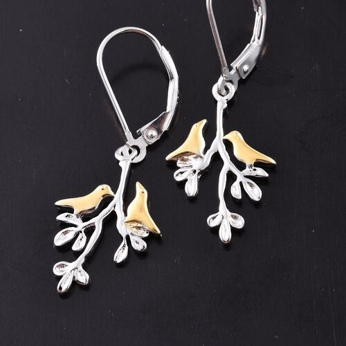 Platinum and Yellow Gold Overlay Sterling Silver Birds and Branches Lever Back Earrings, Silver wt 2.09 Gms.
