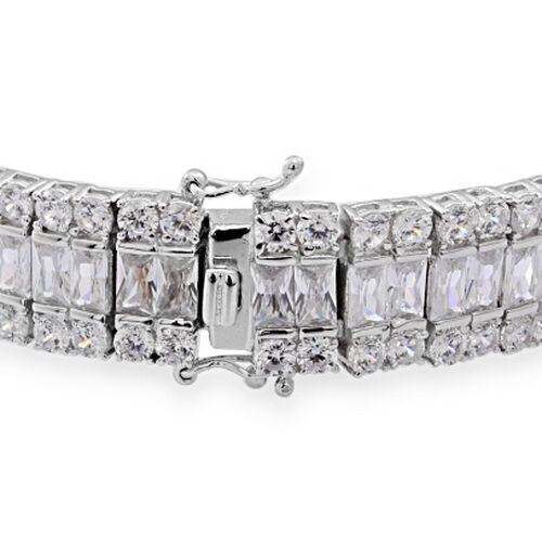 AAA Simulated White Diamond (Oct) Bracelet (Size 7.5) in Sterling Silver, Silver wt 40.00 Gram