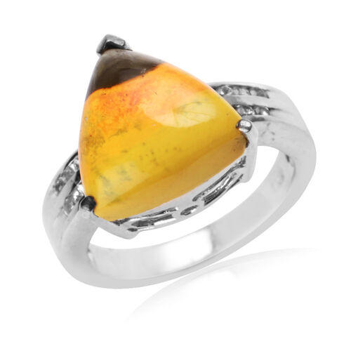 Bumble Bee Jasper (Trl 8.00 Ct), White Topaz Ring in Platinum Overlay Sterling Silver 9.050 Ct.
