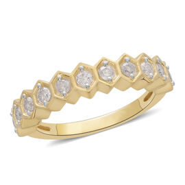 9K Yellow Gold 0.50 Ct Diamond Half Eternity Ring SGL Certified (I3/G-H)