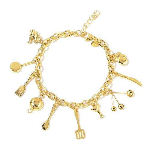 Yellow Gold Plated Stainless Steel Bracelet (Size 8) with Kitchen Kit Charms