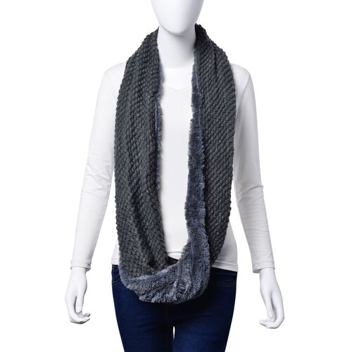 Double Layered Infinity Grey Colour Scarf (Size 20X80 Cm)