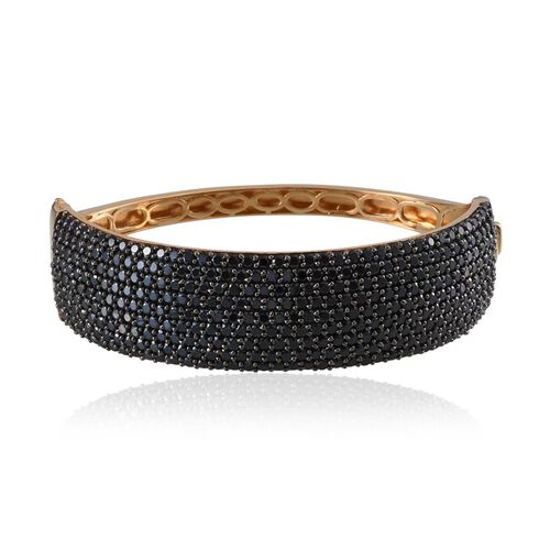Boi Ploi Black Spinel (Rnd) Bangle (Size 7.5) in 14K Gold Overlay Sterling Silver 21.250 Ct.
