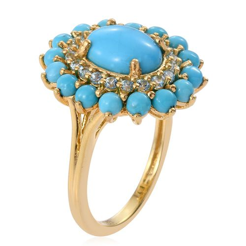 Arizona Sleeping Beauty Turquoise (Ovl 1.40 Ct), Signity Ice Blue Topaz Flower Ring in 14K Gold Overlay Sterling Silver 3.250 Ct.