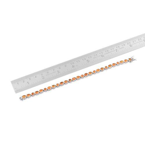 Orange Ethiopian Opal (Ovl) Bracelet in Platinum Overlay Sterling Silver (Size 7.5) 7.500 Ct.