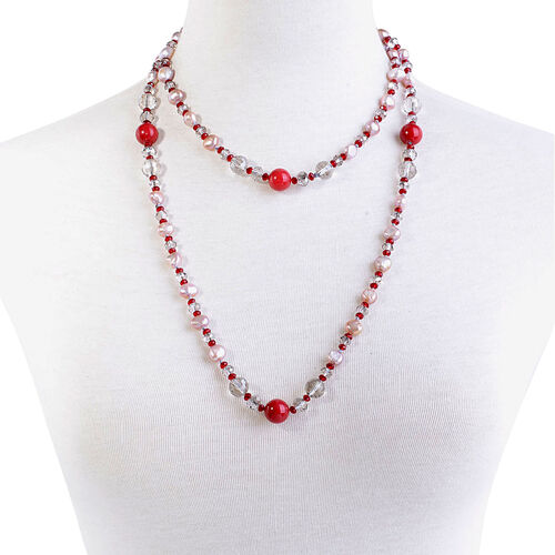 Red Quartzite, Fresh Water Purple Pearl, Red and White Glass Necklace (Size 44)