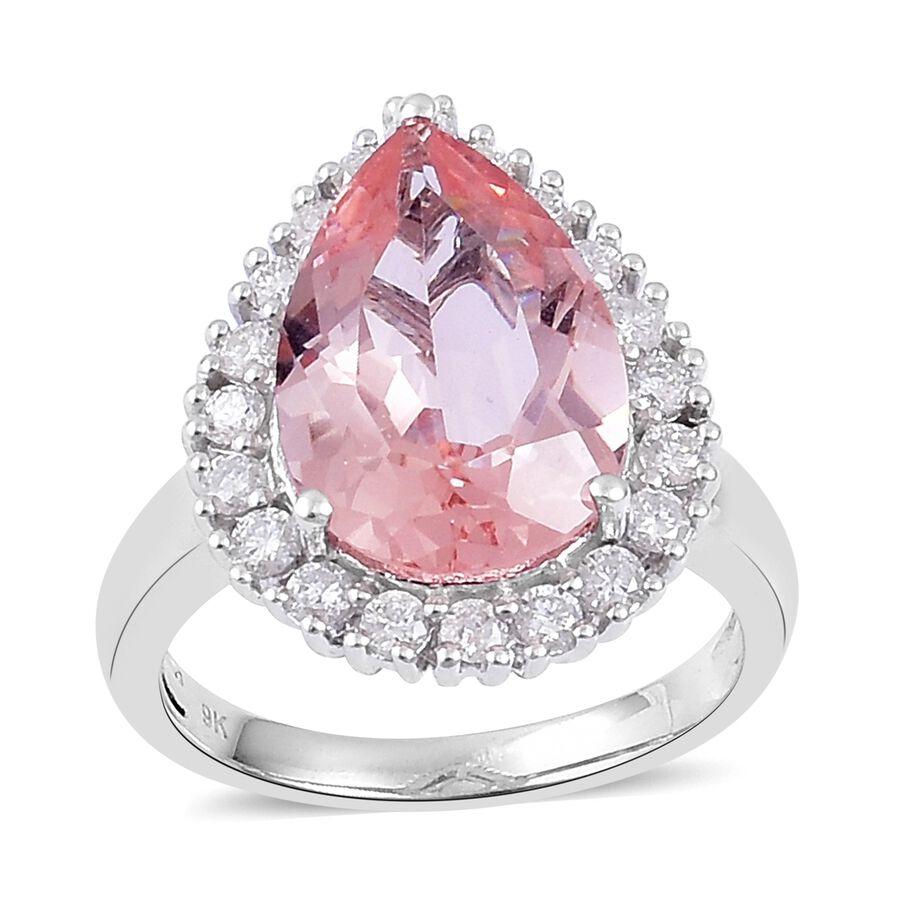 9K White Gold 5.16 Ct. AA Marropino Morganite Ring with Diamond (I1 ...