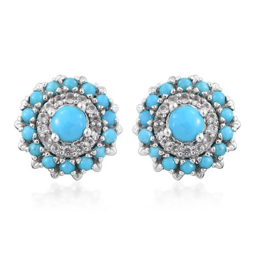 Arizona Sleeping Beauty Turquoise (Rnd), White Topaz Stud Earrings (with Push Back) in Platinum Overlay Sterling Silver 2.500 Ct.