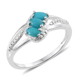 One Time Deal - Arizona Sleeping Beauty Turquoise (Ovl) Trilogy Ring in Sterling Silver. 0.75ct