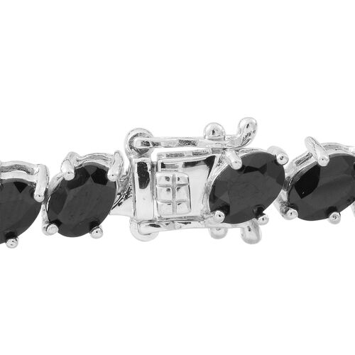 Boi Ploi Black Spinel (Ovl) Bracelet (Size 7) in Rhodium Plated Sterling Silver 20.000 Ct.