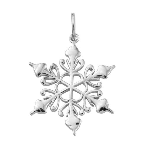Platinum Overlay Sterling Silver Snowflake Pendant, Silver wt 3.38 Gms.
