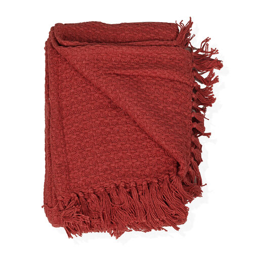 100% Cotton Red Colour Plaid with Fringes (Size 150x125 Cm)