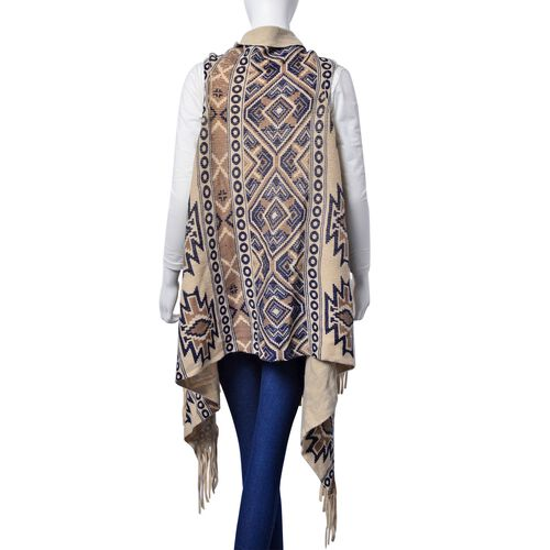Chocolate and Navy Blue Colour Geometric Pattern Poncho with Tassels (One Size for All)