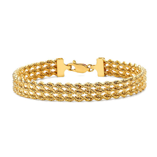 Close Out Deal 9K Yellow Gold 3 Rope Chain Bracelet (Size 7), Gold wt 5.50 Gms.