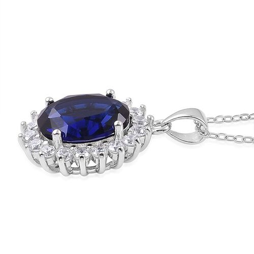 AAA Simulated Sapphire and Simulated White Diamond Pendant With Chain in Rhodium Plated Sterling Silver