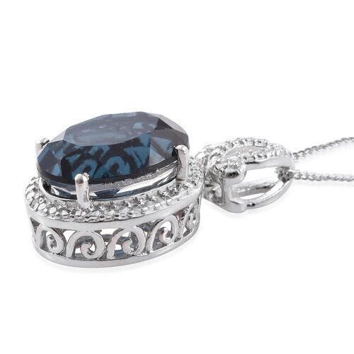 Indicolite Quartz (Ovl), Diamond Pendant With Chain in Platinum Overlay Sterling Silver 6.750 Ct.