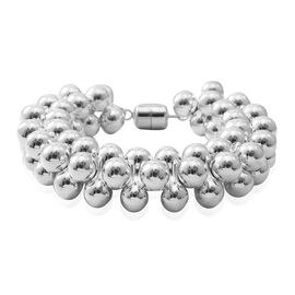 Designer Inspired Sterling Silver Bracelet with Magnetic Clasp (Size 8), Silver wt 68.44 Gms.
