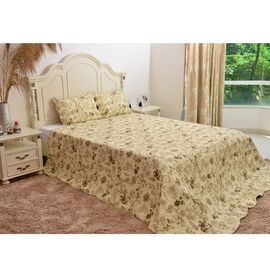 Chocolate, Cream and Multi Colour Floral Pattern Quilt (Size 260x240 Cm) with 2 Quilted Pillow Shams (Size 70x50 Cm)