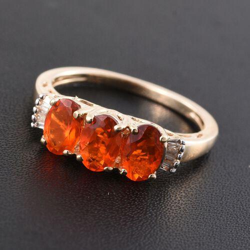 9K Y Gold AA Jalisco Fire Opal (Ovl), Diamond (I3/G-H) Ring 1.000 Ct.
