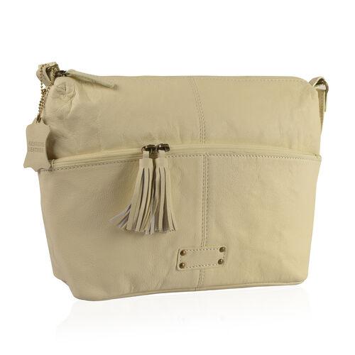 100% Genuine Leather RFID Blocker Off White Colour Sling Bag with External Zipper Pocket (Size 39X24X10 Cm)