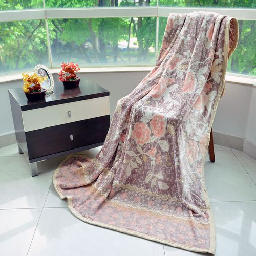 Superfine 300 GSM Microfiber 3D Cut-Out Blanket Chocolate, Off White and Multi Colour Floral Pattern (Size 200X150 Cm)