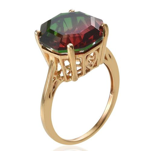 Tourmaline Colour Quartz (Octillion Cut) Solitaire Ring in 14K Gold Overlay Sterling Silver 8.500 Ct.