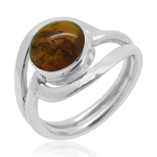 Royal Bali Collection Baltic Amber (Rnd) Solitaire Ring in Sterling Silver 1.530 Ct.