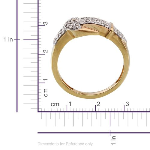 Diamond (Rnd) Buckle Ring in 14K Gold Overlay Sterling Silver 0.100 Ct.