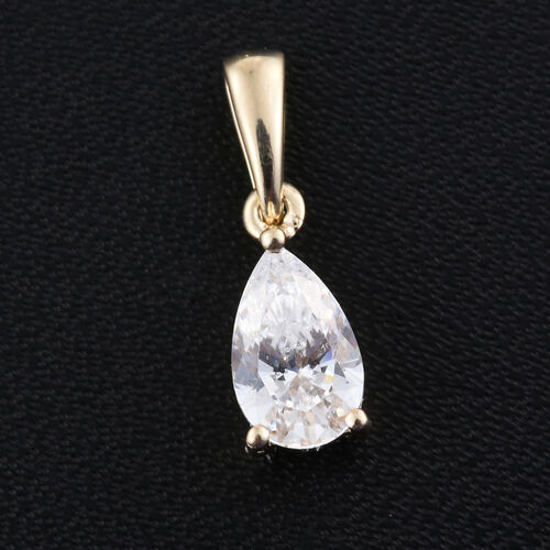 J Francis - 9K Yellow Gold Pear Solitaire Pendant Made with SWAROVSKI ZIRCONIA