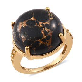 Mojave Black Turquoise (Rnd), Yellow Sapphire Ring in 14K Gold Overlay Sterling Silver 16.250 Ct.