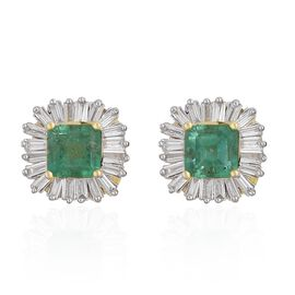 One Time Deal-14K Yellow Gold AAA Boyaca Colombian Emerald (Oct), Diamond (I1-I2/G-H) Stud Earrings (with Push Back) 1.500 Ct.