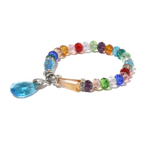 Set of 5 - Simulated Tanzanite, Ruby, Emerald and Multi Gemstone Stretchable Bracelet
