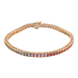 14K Y Gold Rainbow Sapphire (Sqr) Tennis Bracelet (Size 7) 7.000 Ct.
