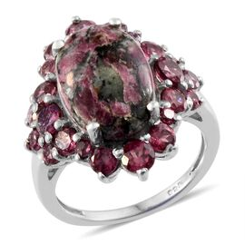 Natural Russian Eudialyte (Ovl 4.50 Ct), Rhodolite Garnet Ring in Platinum Overlay Sterling Silver 7.400 Ct.