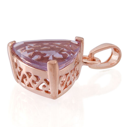 Rose De France Amethyst (Trl) Solitaire Pendant in 14K Rose Gold Overlay Sterling Silver 3.500 Ct.