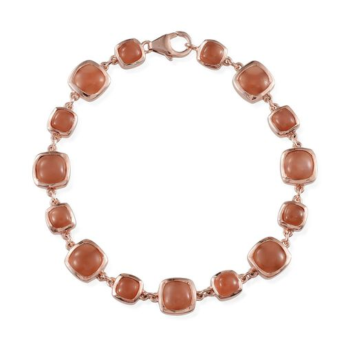 Mitiyagoda Peach Moonstone (Cush) Bracelet (Size 7) in Rose Gold Overlay Sterling Silver 16.750 Ct.