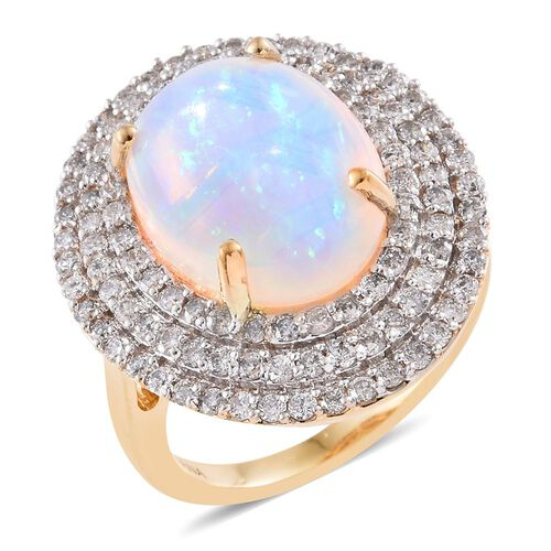 Signature Collection-ILIANA 18K Yellow Gold AAAA Ethiopian Welo Opal (Ovl 6.50 Ct), Diamond (SI/G-H) Ring 8.000 Ct. Gold Wt 9.43 Gms