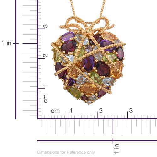 GP Rhodolite Garnet (Ovl), Citrine, Amethyst, Hebei Peridot and Multi Gemstone Pendant With Chain in 14K Gold Overlay Sterling Silver 9.021 Ct.