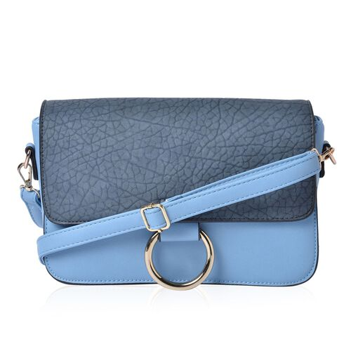 Stella Dusk Blue Colour Crossbody Bag with Adjustable and Removable Shoulder Strap (Size 27.5x18x8 Cm)