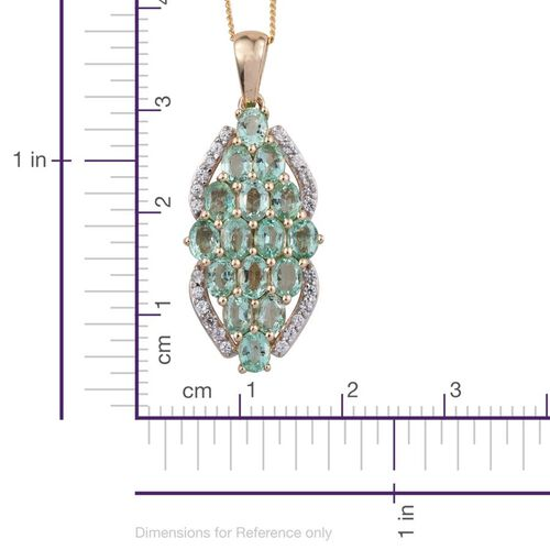 9K Y Gold Boyaca Colombian Emerald (Ovl), Natural Cambodian Zircon Pendant With Chain 2.750 Ct.