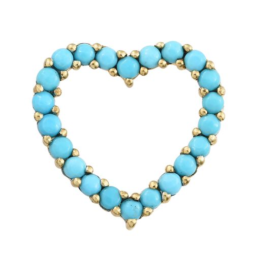 Arizona Sleeping Beauty Turquoise (Rnd) Heart Pendant in 14K Gold Overlay Sterling Silver 1.000 Ct.