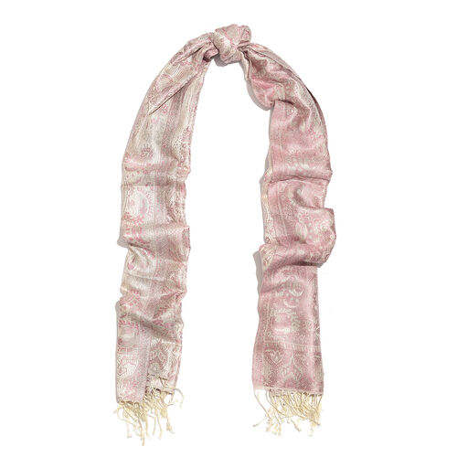 SILK MARK - 100% Superfine Silk Pink, Off White and Multi Colour Paisley Pattern Jacquard Jamawar Scarf with Tassels (Size 180x70 Cm) (Weight 125 - 140 Gms)