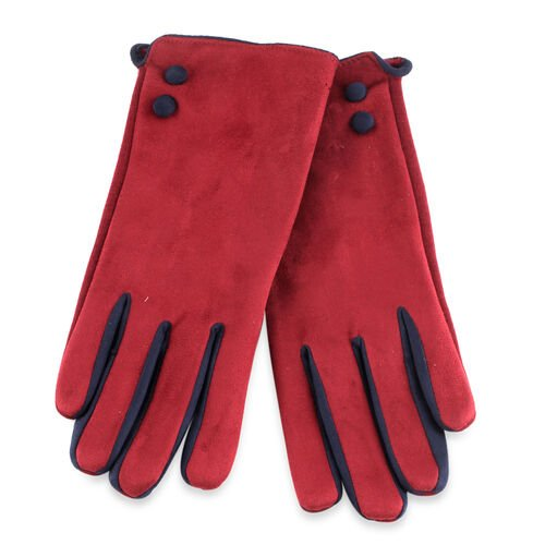Maroon and Blue Colour Felt Gloves (Size 23 Cm)
