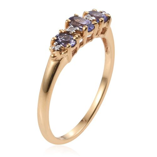 Tanzanite (Ovl), Diamond Ring, Pendant and Stud Earrings (with Push Back) in 14K Gold Overlay Sterling Silver 1.530 Ct.