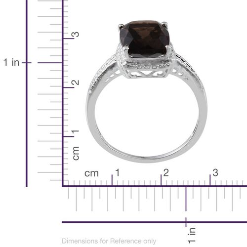 Brazilian Smoky Quartz (Cush) Solitaire Ring in Sterling Silver 3.750 Ct.